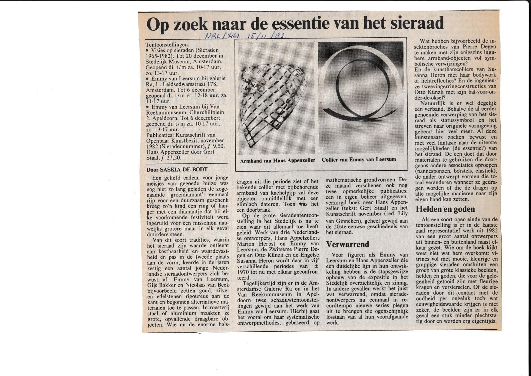 Visies op sieraden, 1982
