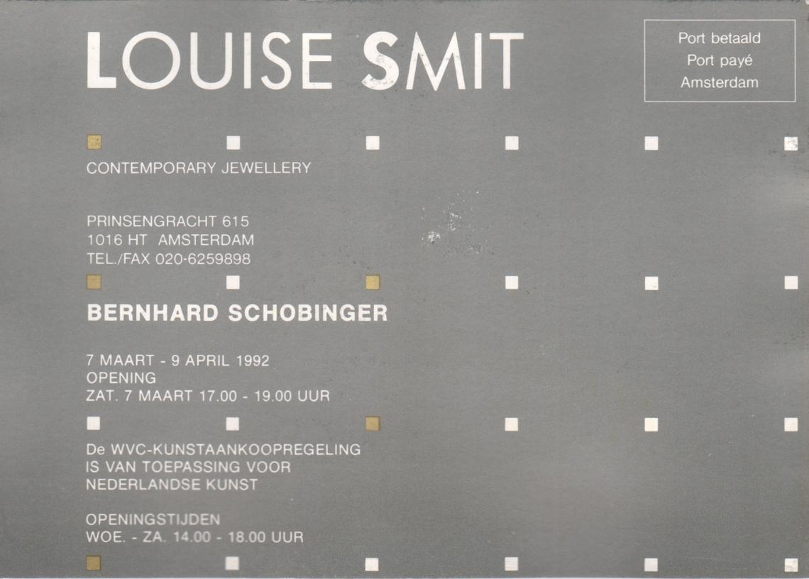Uitnodiging opening Bernhard Schobinger, 7 maart 1992. Foto met dank aan Louise Smit©