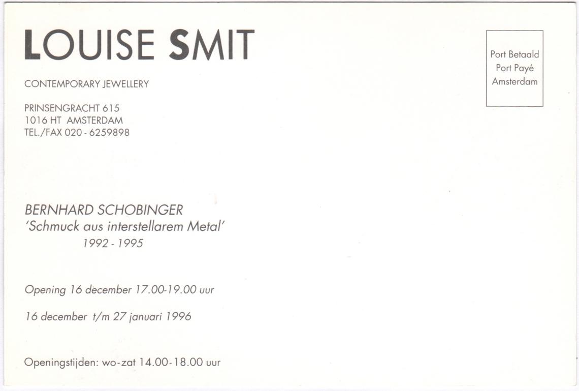 Uitnodiging opening Bernhard Schobinger, 16 december 1996. Foto met dank aan Louise Smit©