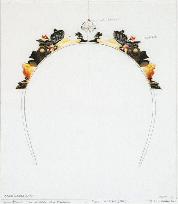 Truike Verdegaal, Ontwerp voor diadeem, collage, 2001. Foto met dank aan SMS©