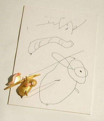 Manfred Bischoff, Am huhn désir, broche en tekening, circa 2000. Foto met dank aan SMS©
