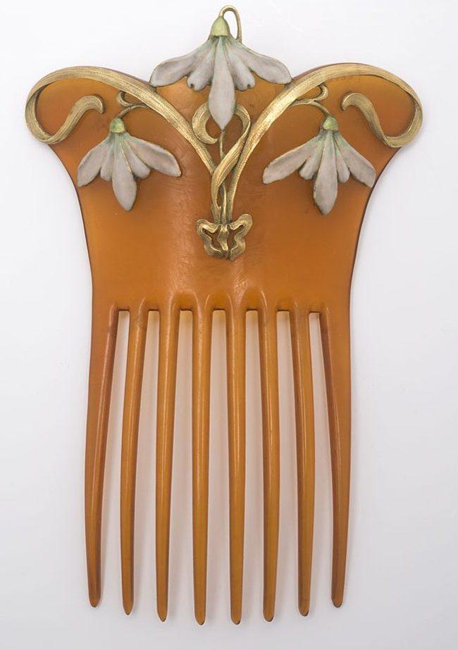 Vever Frères, haarkam, 1899, Collectie Museum für Kunst und Gewerbe Hamburg, 1900.434, publiek domein (CC0 1.0)