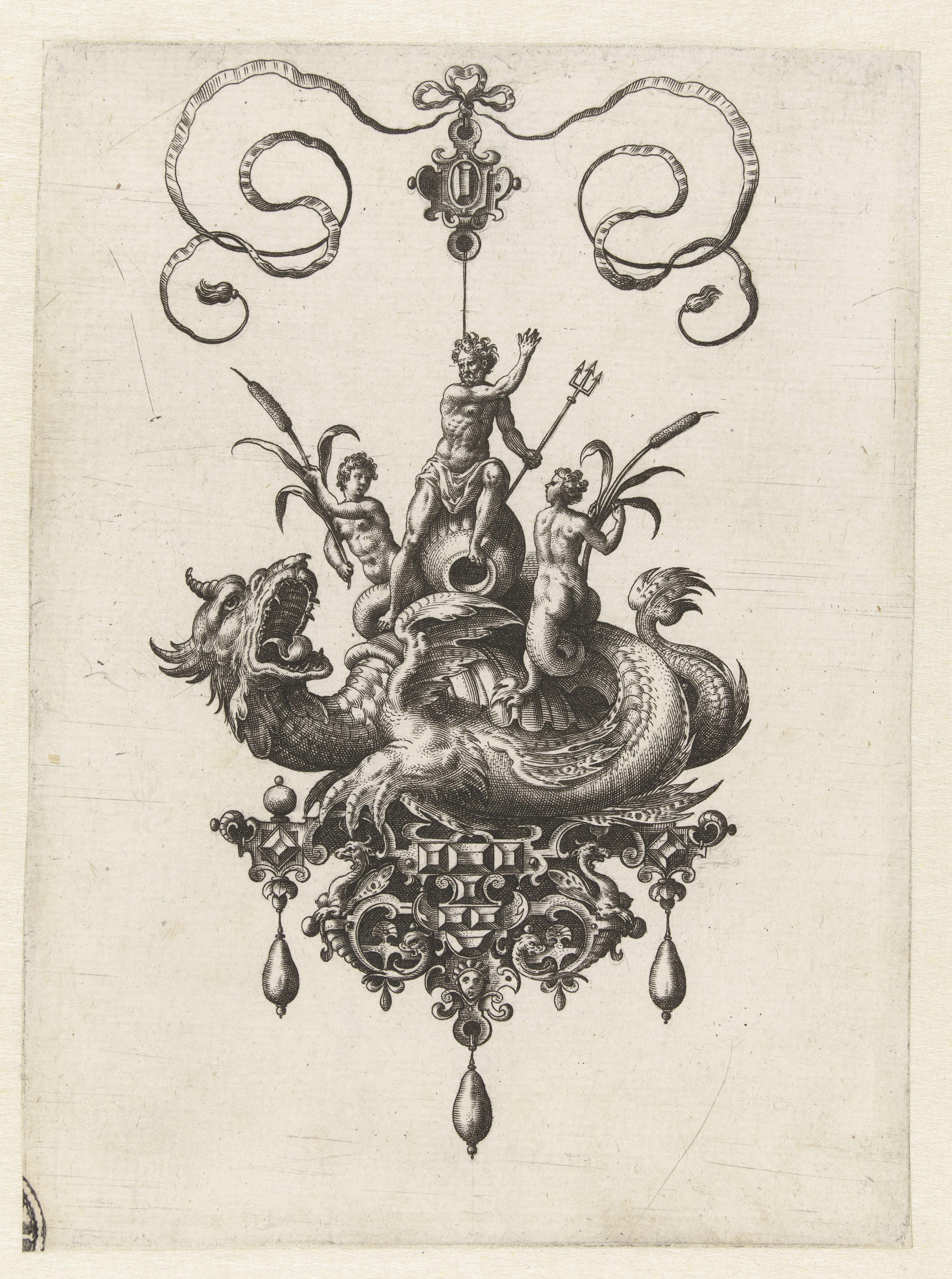 Adriaen Collaert, Hanger met zeedraak, gravure, 1582. Collectie Rijksmuseum, RP-P-1987-2, publiek domein (CC0 1.0)
