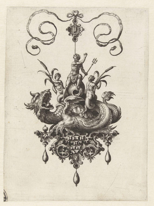 Adriaen Collaert, Hanger met zeedraak, gravure, 1582. Collectie Rijksmuseum, RP-P-1987-2, publiek domein