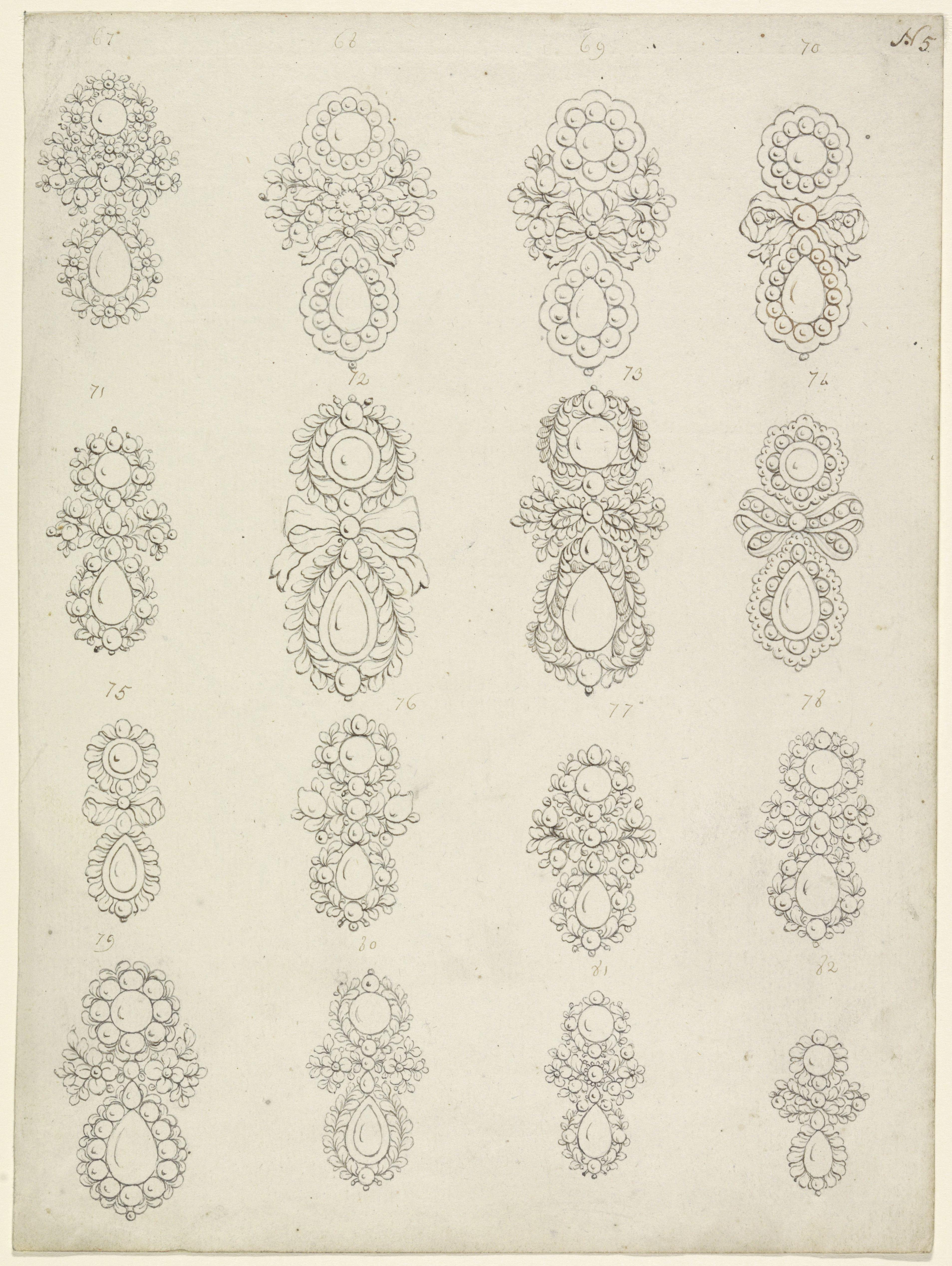 Tekening met 16 oorbelontwerpen, Collectie Rijksmuseum, RP-T-1965-3, publiek domein (CC0 1.0)
