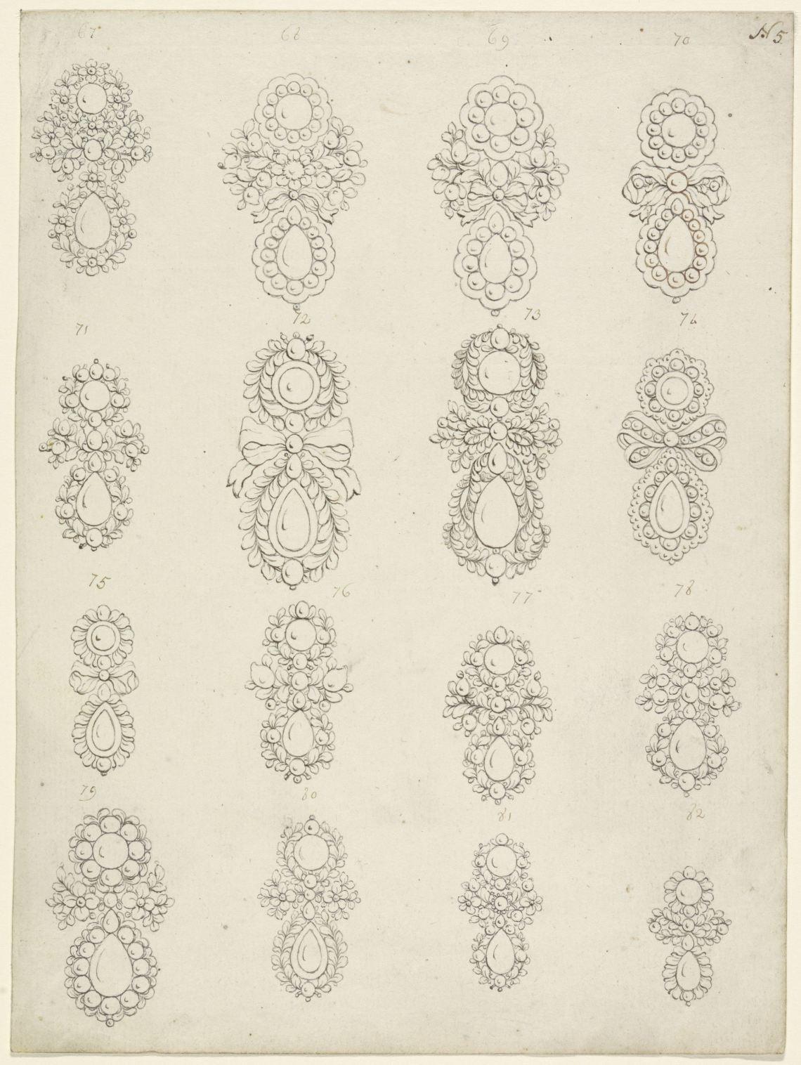 Tekening met 16 oorbelontwerpen, Collectie Rijksmuseum, RP-T-1965-3, publiek domein