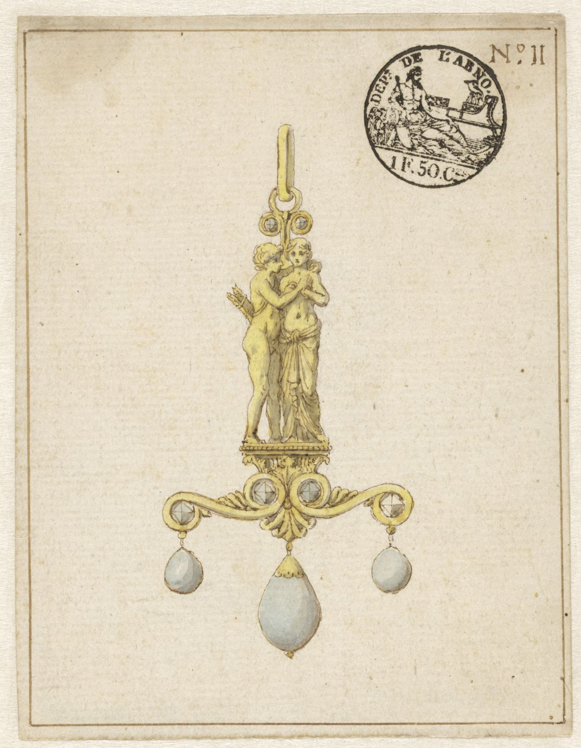 Tekening met ontwerp voor een hanger, circa 1810. Collectie Rijksmuseum, RP-T-2016-2-10, publiek domein