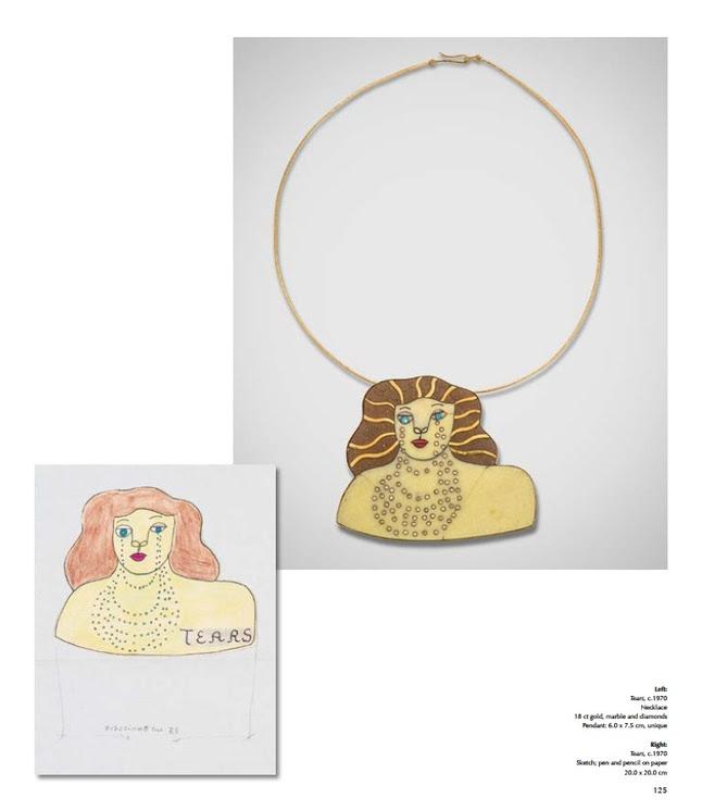 Niki de Saint Phalle, halssieraad en tekening. Courtesy of Louisa Guinness Gallery©