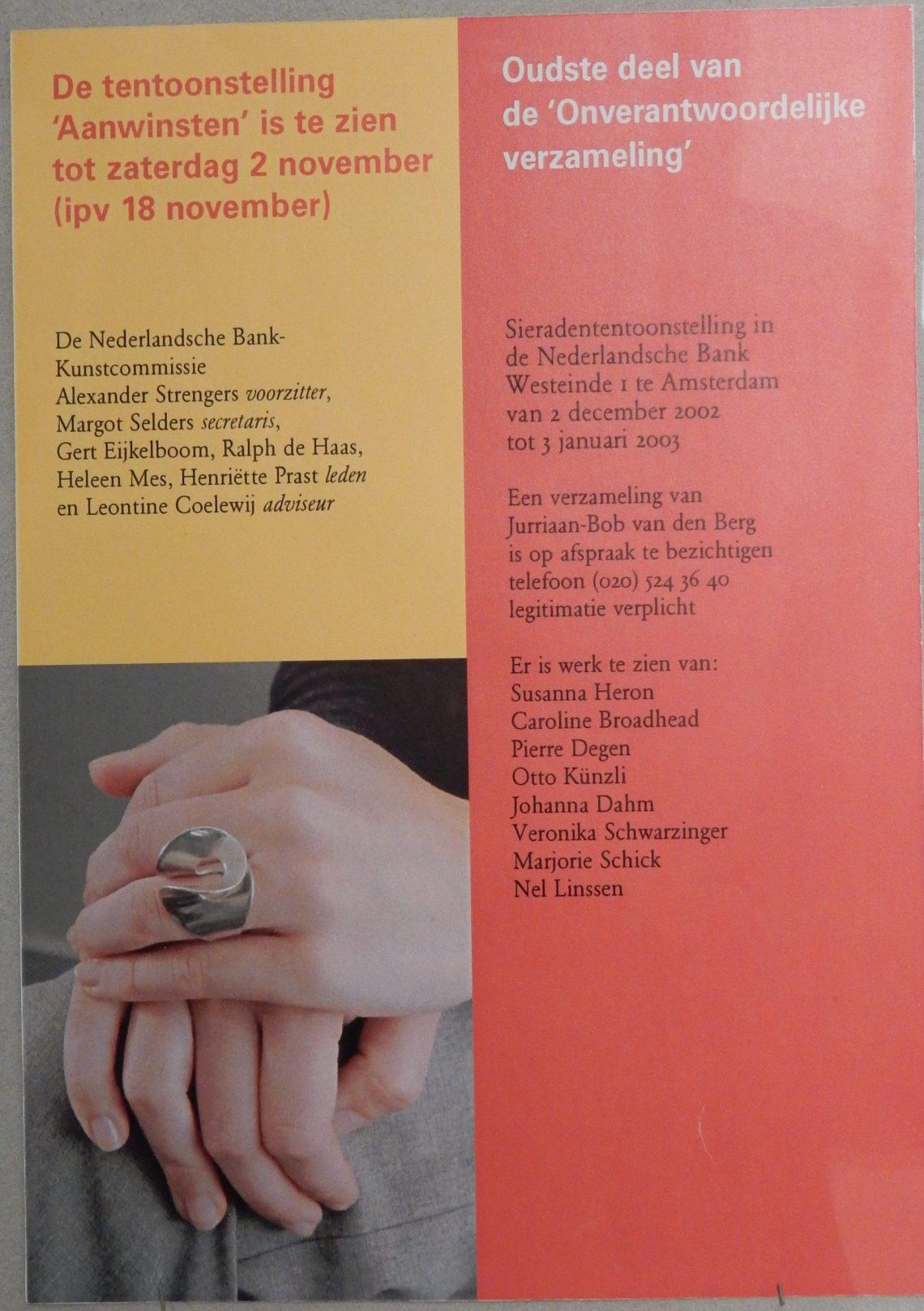Flyer, de verzameling van Jurriaan van den Berg in CODA, 2018. Foto Esther Doornbusch, CC BY 4.0