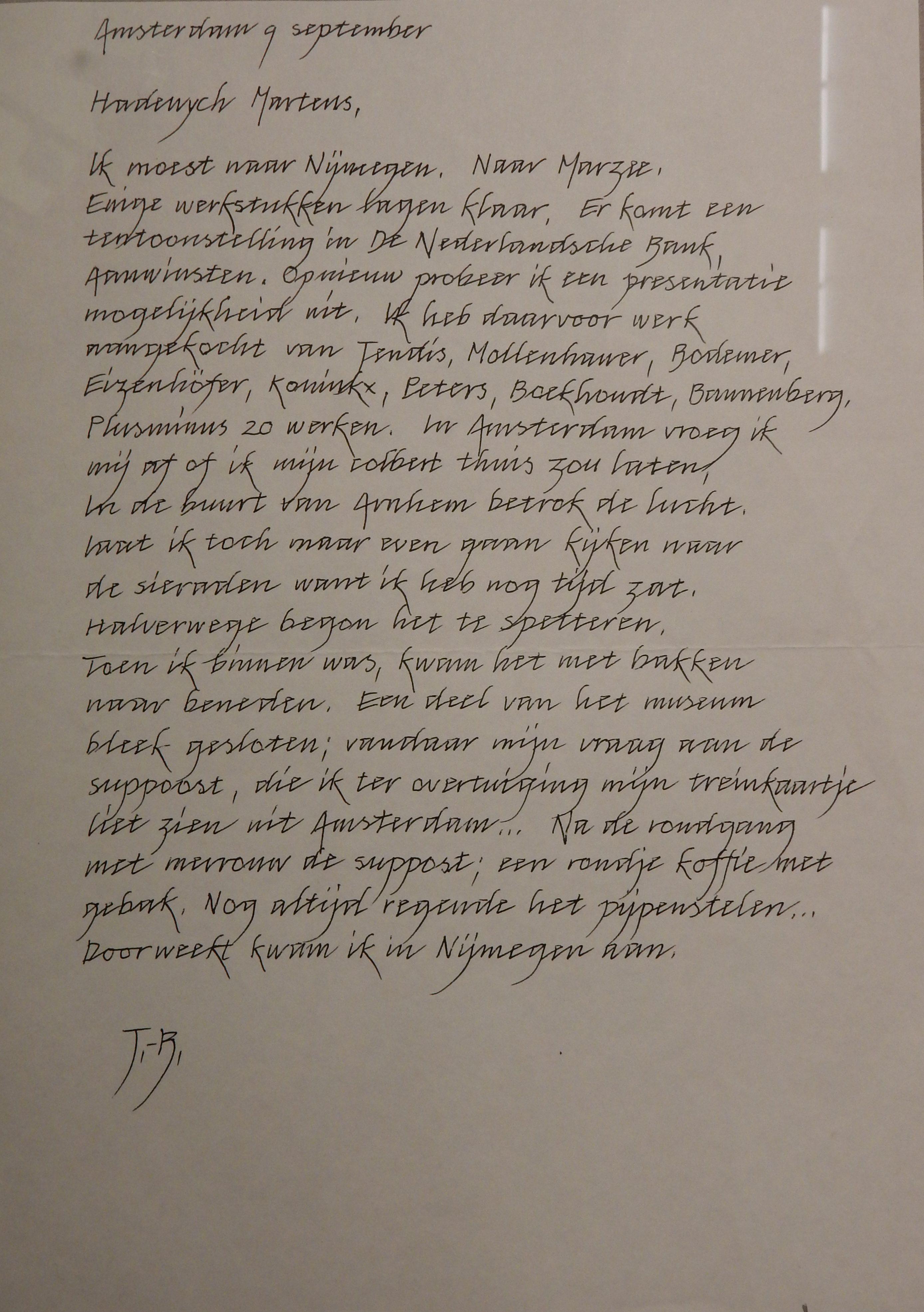 Brief van Jurriaan van den Berg aan Hadewych Martens, de verzameling van Jurriaan van den Berg in CODA, 2018. Foto Esther Doornbusch, CC BY 4.0