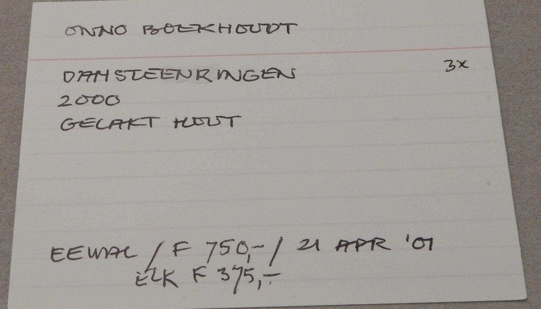 Inventariskaart Jurriaan van den Berg bij Onno Boekhoudt, ringen, 2000. De verzameling van Jurriaan van den Berg in CODA, 2018. Foto Esther Doornbusch, CC BY 4.0