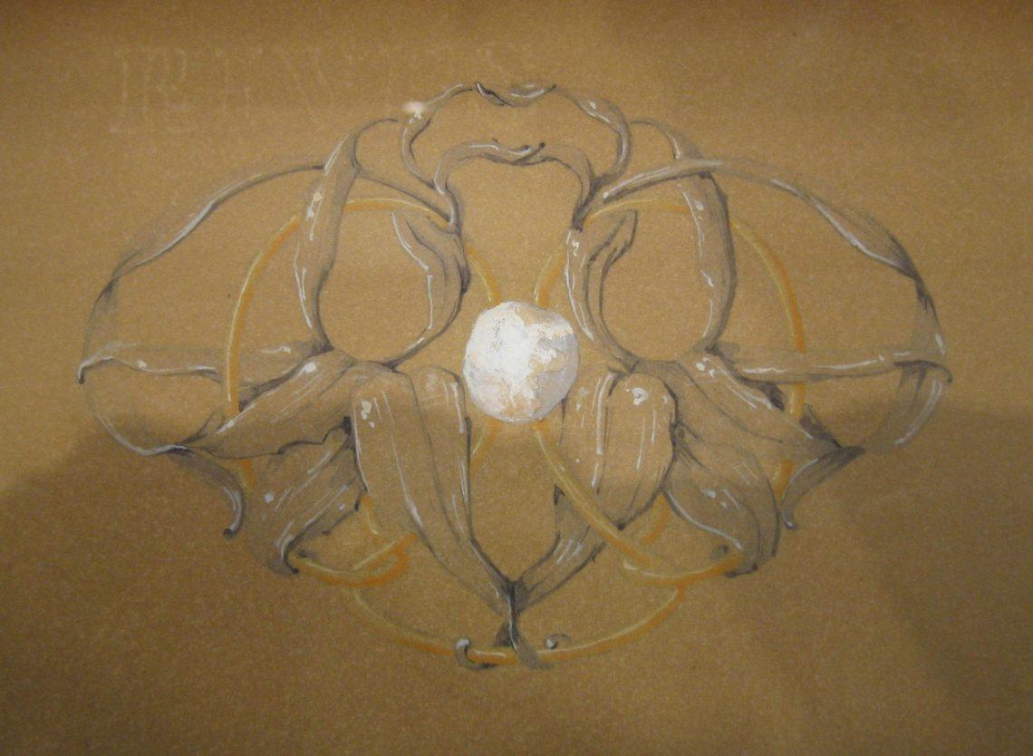 Philippe Wolfers, ontwerptekening Orchideeën, ceintuurgesp, 8 november 1897. Collectie Koning Boudewijnstichting. Foto Esther Doornbusch, juni 2018, CC BY 4.0