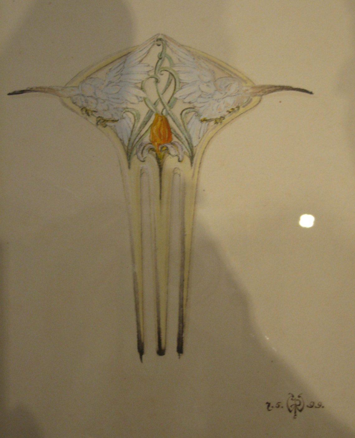 Philippe Wolfers, Vogels en Iris, haarkam, ontwerptekening, 7 mei 1899. Collectie Koning Boudewijnstichting. Foto Esther Doornbusch, juni 2018, CC BY 4.0