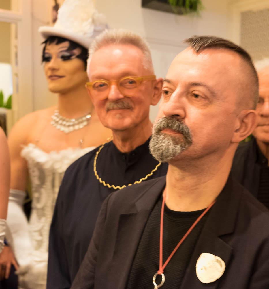 Paul Derrez en Willem Hoogstede tijdens het jubileumfeest van Galerie Ra, 16 oktober 2016. Foto met dank aan M.O.©