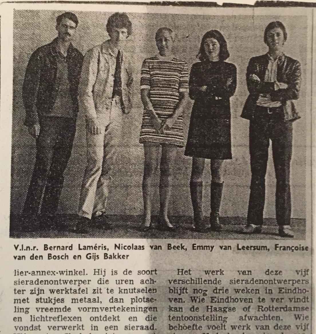 Bernard Laméris, Nicolaas van Beek, Emmy van Leersum, Françoise van den Bosch en Gijs Bakker. Foto met dank aan Bernard Laméris©