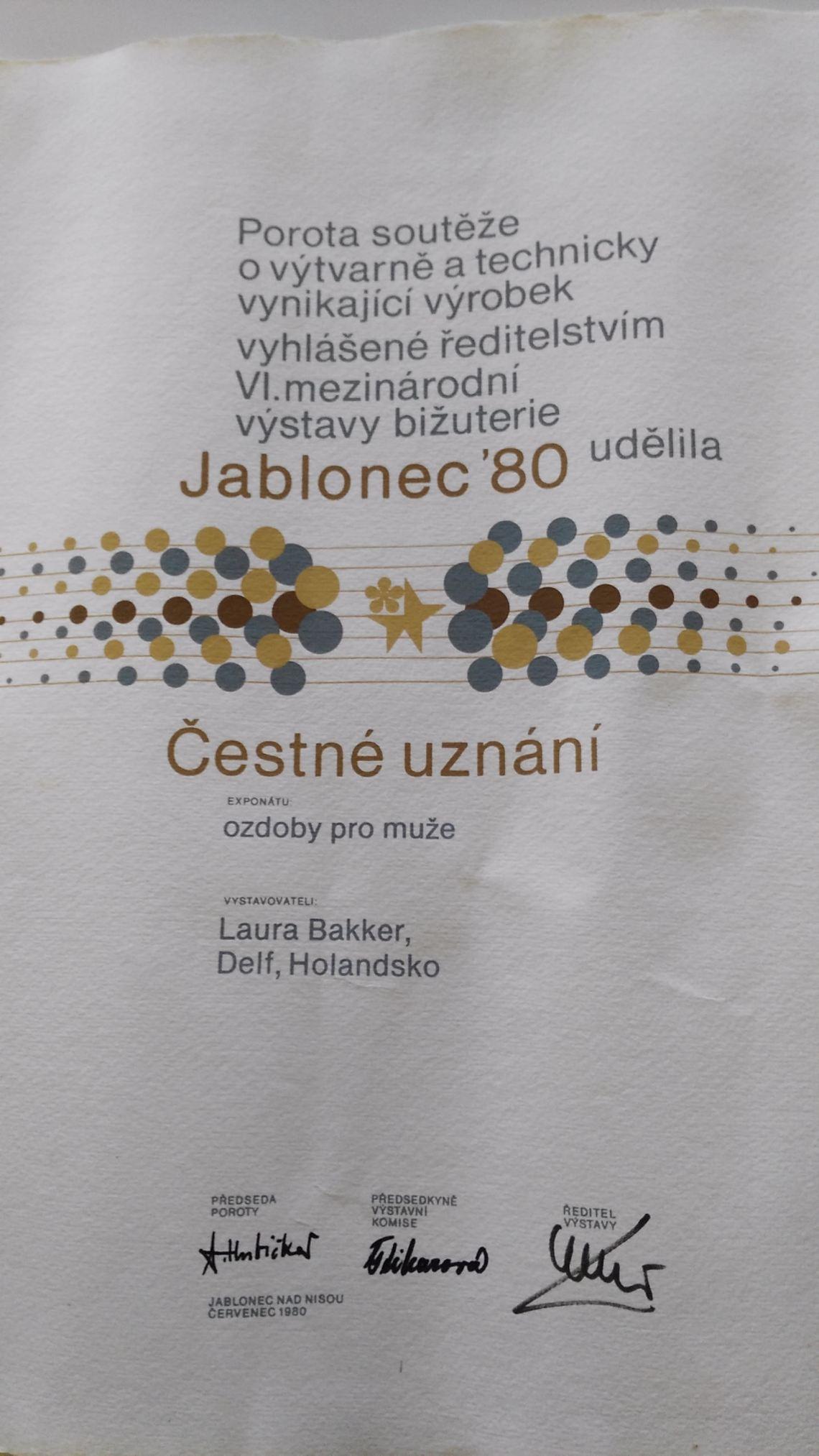 Prijs Jablonec 1980. Foto met dank aan Laura Bakker©