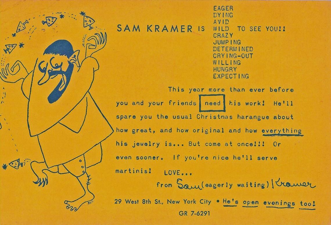Sam Kramer, flyer, 1940-1959. Courtesy John (Chico) Kramer and Carol Jane Kramer©